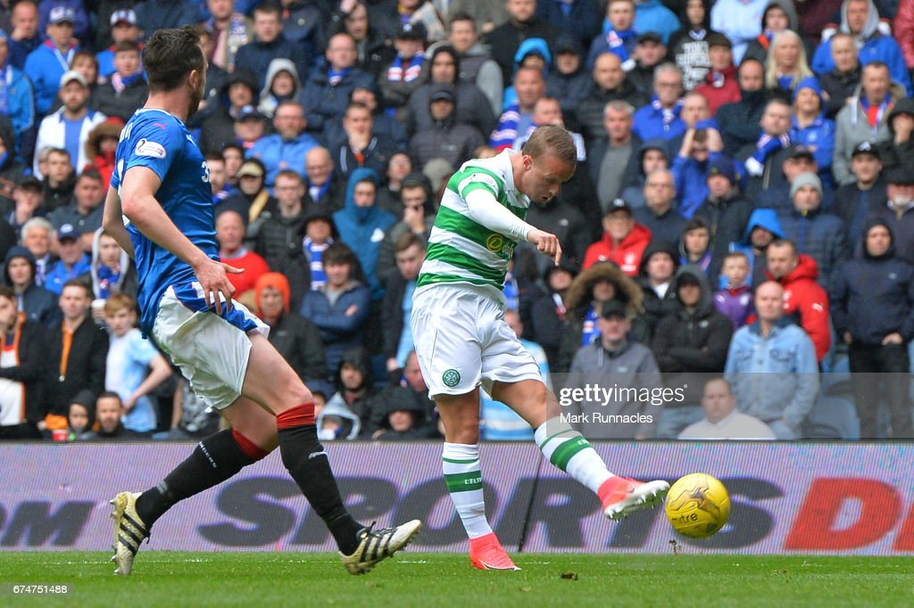 Leigh Griffiths of Celtic (R) scores their second goal during the Ladbrokes Scottish Premiership match between Rangers and Celtic at Ibrox Stadium on April 29, 2017 in Glasgow, Scotland.