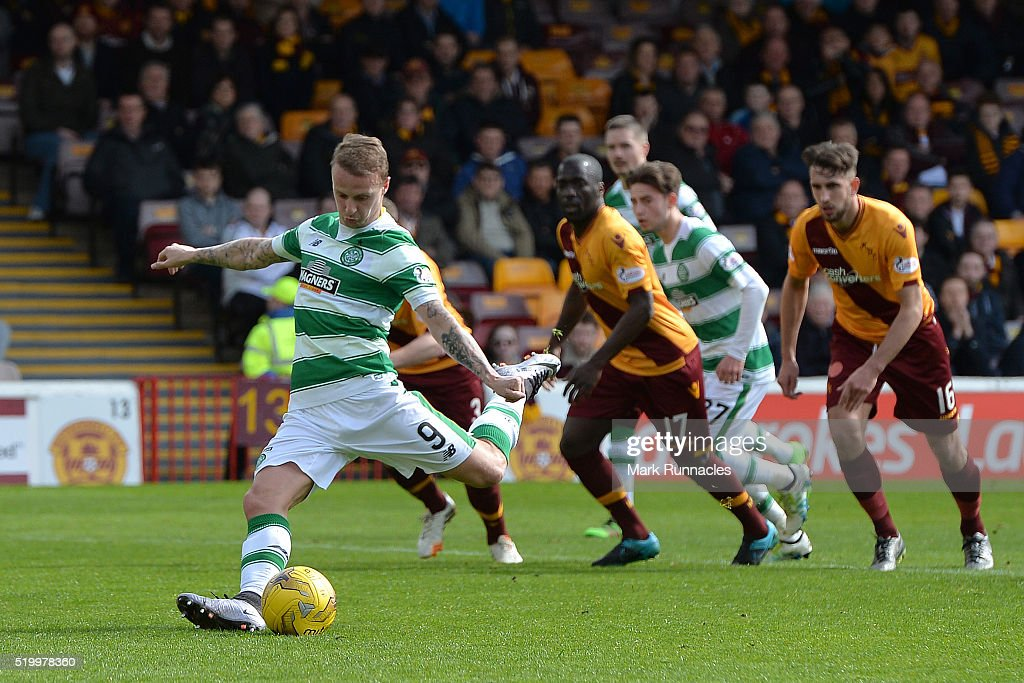 Leigh Griffiths of Celtic takes a penalty late in the first half during the Ladbrokes Scottish Premiership match between Celtic FC and Motherwell FC at Fir Park on April 9, 2016 in Glasgow, Scotland.
