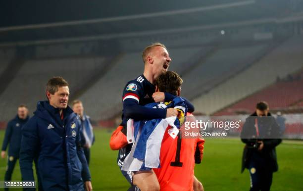 Leigh Griffiths of Scotland and David Marshall of Scotland celebrate during the UEFA EURO 2020 Play-Off Final between Serbia and Scotland at Rajko...