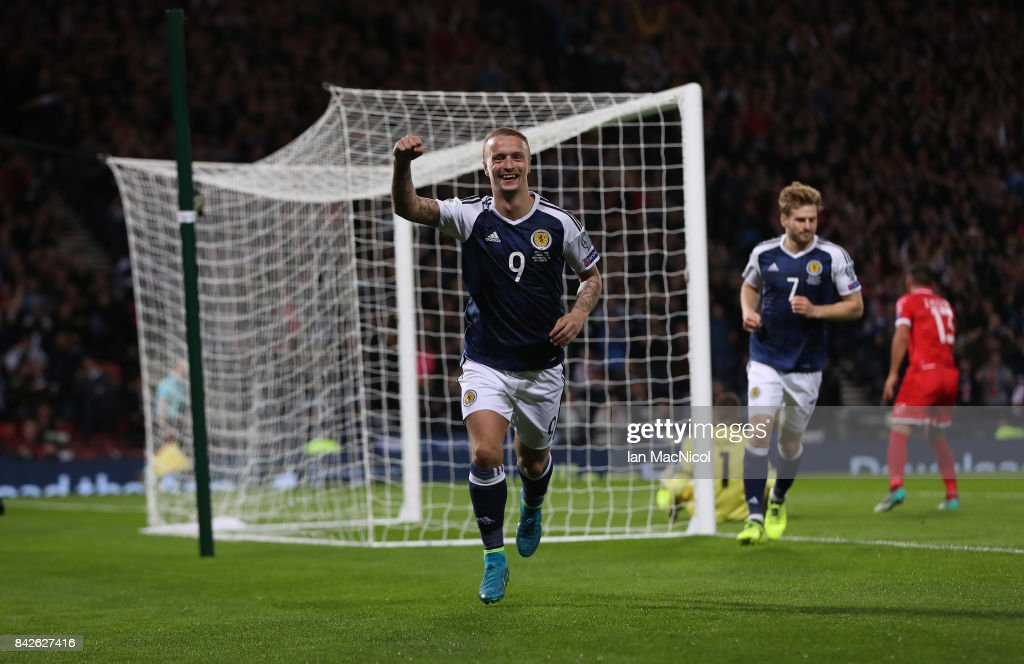 Leigh Griffiths of Scotland celebrates after he scores the second goal during the FIFA 2018 World Cup Qualifier between Scotland and Malta at Hampden Park on September 4, 2017 in Glasgow, Scotland.