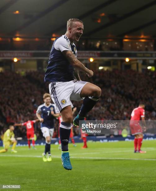 Leigh Griffiths of Scotland celebrates after he scores the second goal during the FIFA 2018 World Cup Qualifier between Scotland and Malta at Hampden...