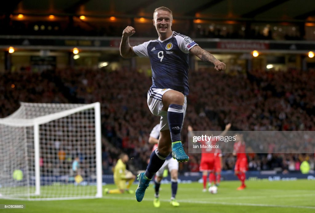 Leigh Griffiths of Scotland celebrates as he scores their second goal during the FIFA 2018 World Cup Qualifier between Scotland and Malta at Hampden Park on September 4, 2017 in Glasgow, Scotland.