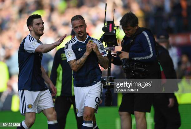 Leigh Griffiths of Scotland celebrates scoring his sides second goal during the FIFA 2018 World Cup Qualifier between Scotland and England at Hampden...