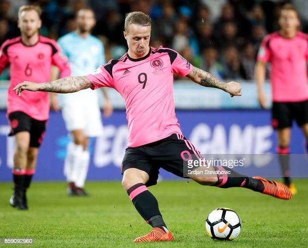 Leigh Griffiths of Scotland in action during the FIFA 2018 World Cup Qualifier match between Slovenia and Scotland at stadium Stozice on October 08...
