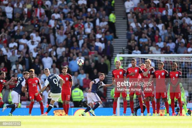 Leigh Griffiths of Scotland scores a goal to make the score 11 during the FIFA 2018 World Cup Qualifier between Scotland and England at Hampden Park...