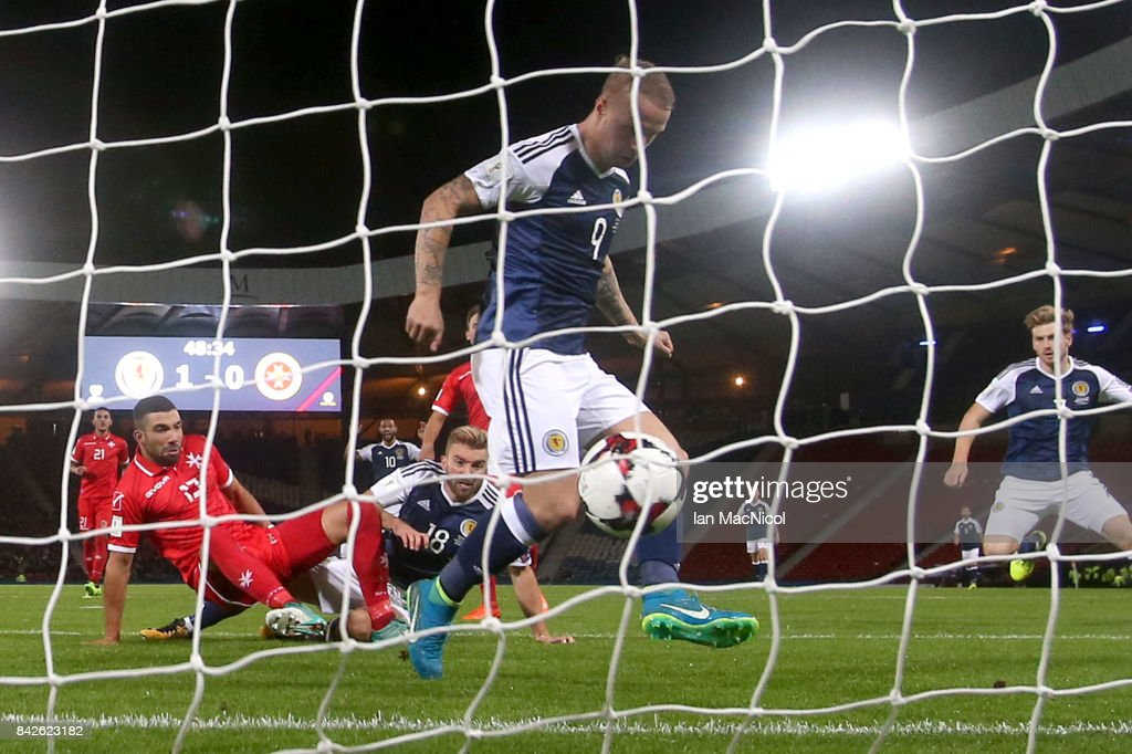 Leigh Griffiths of Scotland (9) scores their second goal during the FIFA 2018 World Cup Qualifier between Scotland and Malta at Hampden Park on September 4, 2017 in Glasgow, Scotland.