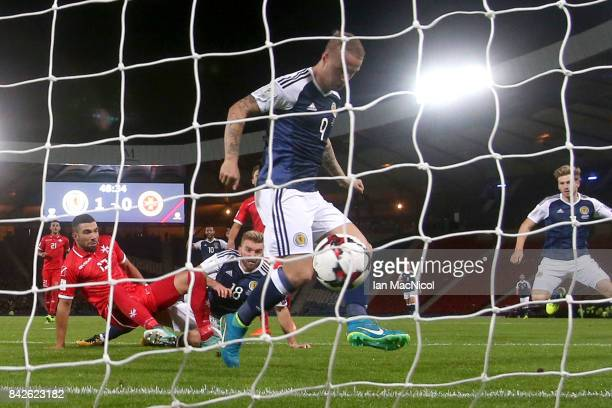 Leigh Griffiths of Scotland scores their second goal during the FIFA 2018 World Cup Qualifier between Scotland and Malta at Hampden Park on September...