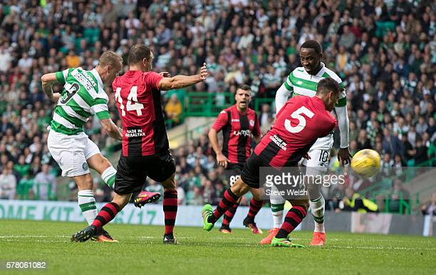 Leigh Griffiths scores Celtics's second goal during the UEFA Champions League Second Qualifying Round Second Leg between Celtic Football Club and...