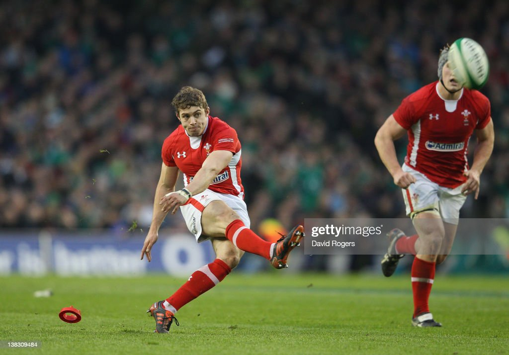 Leigh Haflpenny of Wales kicks the last minute match winning penalty during the RBS Six Nations match between Ireland and Wales at the Aviva Stadium on February 5, 2012 in Dublin, Ireland