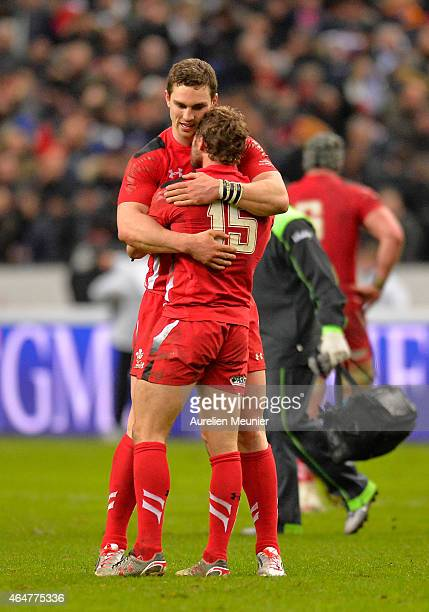 Leigh Halfpenny and George North of Wales after the RBS Six Nations match between France and Wales at the Stade de France on February 28 2015 in...