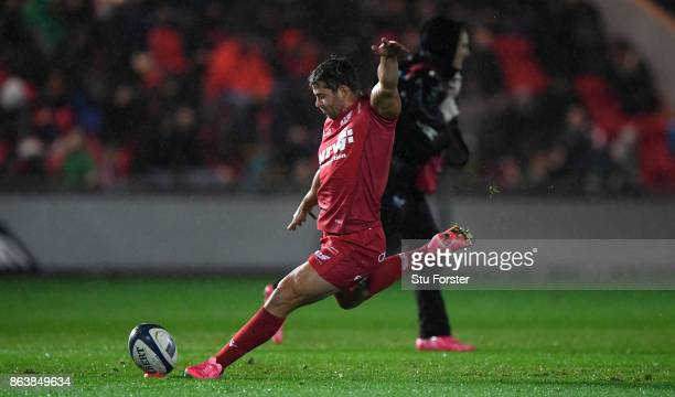 Leigh Halfpenny kicks Scarlets first penalty during the European Rugby Champions Cup match between Scarlets and Bath Rugby at Parc y Scarlets on...