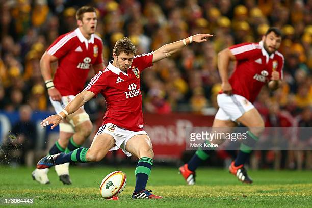 Leigh Halfpenny of the Lions kicks a penalty goal during the International Test match between the Australian Wallabies and British Irish Lions at ANZ...