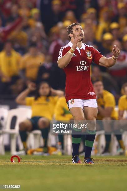 Leigh Halfpenny of the Lions reacts after missing a kick at goal after the final siren the during game two of the International Test Series between...