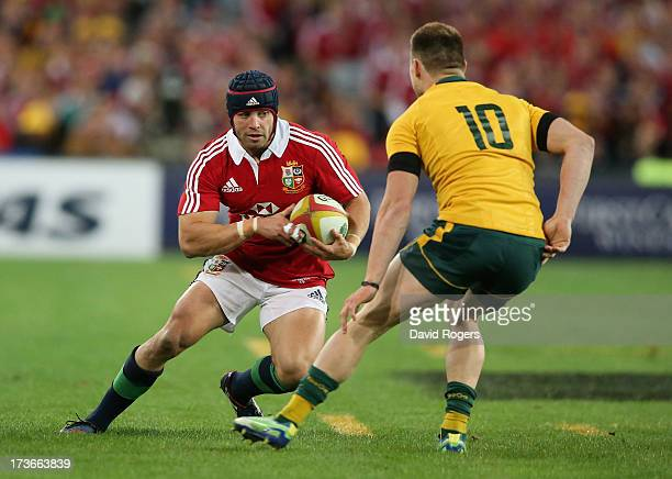 Leigh Halfpenny of the Lions takes on James O'Connor during the International Test match between the Australian Wallabies and British Irish Lions at...