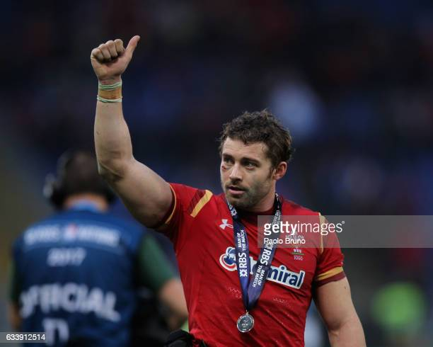 Leigh Halfpenny of the Wales celebrates the victory after the RBS Six Nations match between Italy and Wales at Stadio Olimpico on February 5 2017 in...