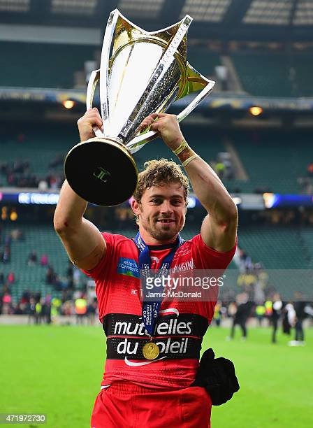 Leigh Halfpenny of Toulon celebrates with the trophy during the European Rugby Champions Cup Final match between ASM Clermont Auvergne and RC Toulon...