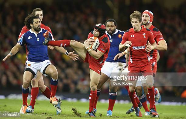 Leigh Halfpenny of Wales catches the ball during the RBS Six Nations match between Wales and France at the Millennium Stadium on February 21 2014 in...