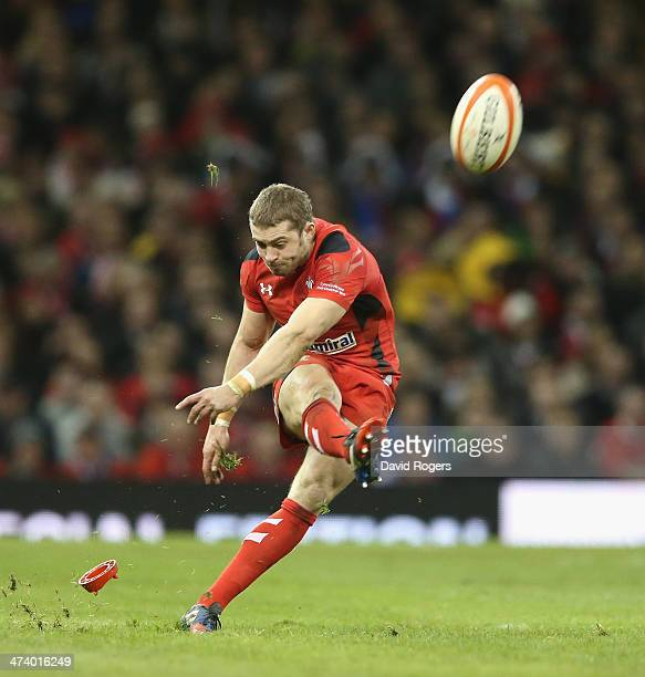 Leigh Halfpenny of Wales kicks a penalty during the RBS Six Nations match between Wales and France at the Millennium Stadium on February 21 2014 in...