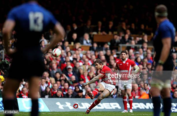 Leigh Halfpenny of Wales kicks a penalty goal during the RBS Six Nations Championship match between Wales and France at the Millennium Stadium on...