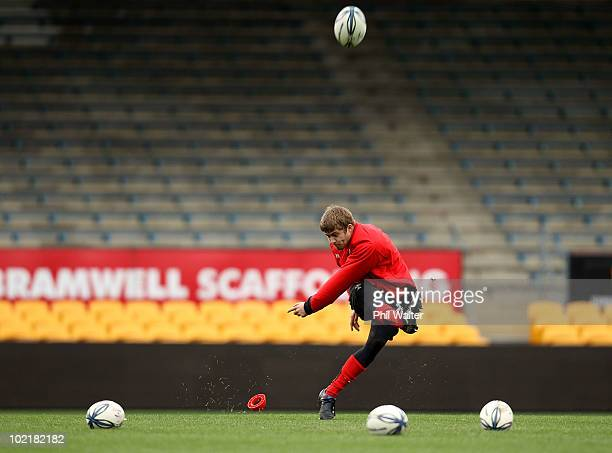 Leigh Halfpenny of Wales practices his kicking during the Wales Rugby Captain's Run at Carisbrook on June 18, 2010 in Dunedin, New Zealand.