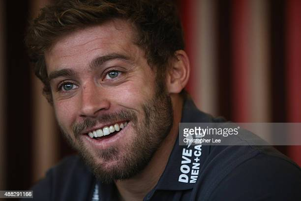 Leigh Halfpenny talks to the media at Royal Garden Hotel on September 15 2015 in London England