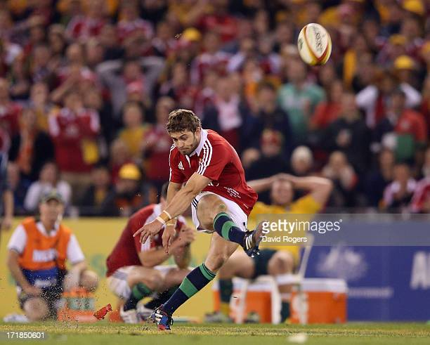 Leigh Halfpenny the Lions fullback misses with a last minute match winning penalty during game two of the International Test Series between the...