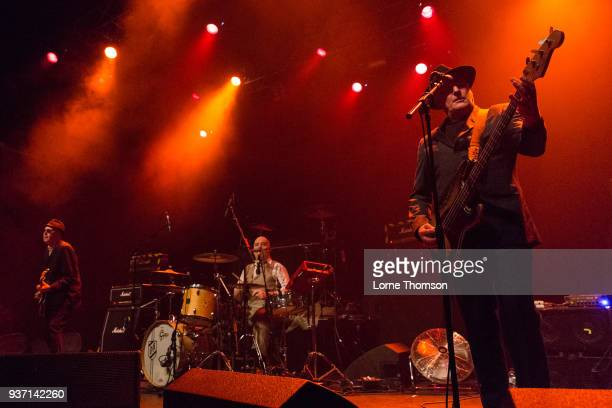 Leigh Heggarty Dave Ruffy and John 'Segs' Jennings of Ruts DC perform at The Forum on March 23 2018 in London England