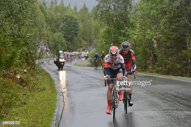 Leigh Howard from IAM Cycling and Daniel Oss from BMC Racing Team lead a breakaway of two riders during the third stage - 'the queen stage' of the...