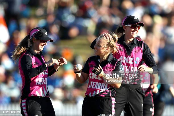 Leigh Kasperek celebrates with Amy Satterthwaite of the White Ferns after winning the Women's International T20 Game 3 between New Zealand and India...