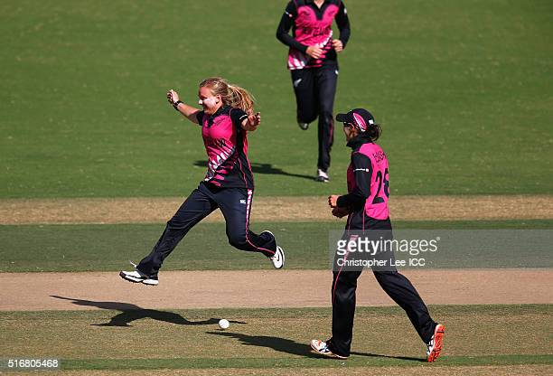 Leigh Kasperek of New Zealand celebrates taking the wicket of Erin Osbourne of Australia during the Women's ICC World Twenty20 India 2016 Group A...
