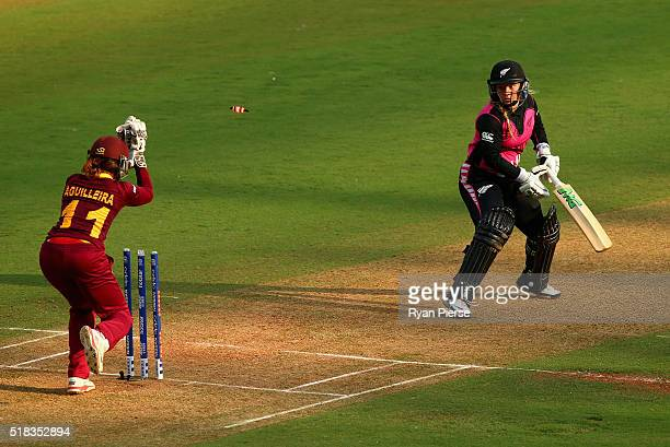 Leigh Kasperek of New Zealand is stumped by Merissa Aguilleira of the West Indies during the Women's ICC World Twenty20 India 2016 Semi Final match...