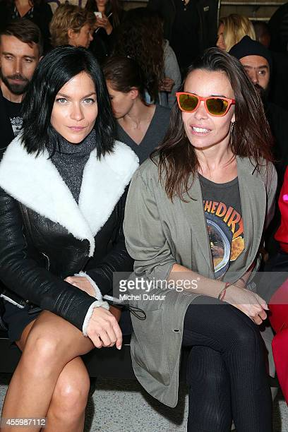 Leigh Lezark and Actress Elodie Bouchez attend the Anthony Vaccarello show as part of the Paris Fashion Week Womenswear Spring/Summer 2015 on...