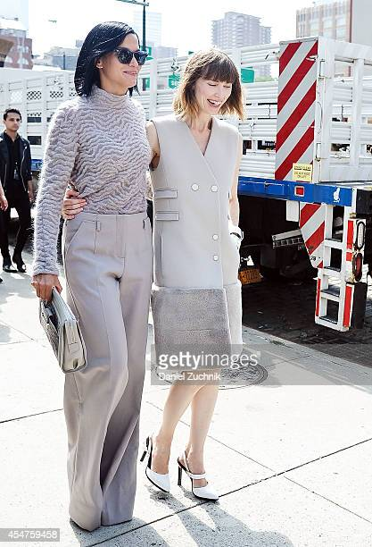 Leigh Lezark and Anya Ziourova are seen outside the Jason Wu show on September 5 2014 in New York City