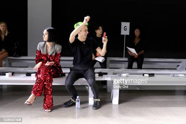 Leigh Lezark and designer Christian Cowan prepare for the Christian Cowan Show during New York Fashion Week at Gallery II at Spring Studios on...
