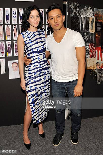 Leigh Lezark and designer Prabal Gurung pose backstage at the Prabal Gurung Fall 2016 fashion show during New York Fashion Week The Shows at The Arc...