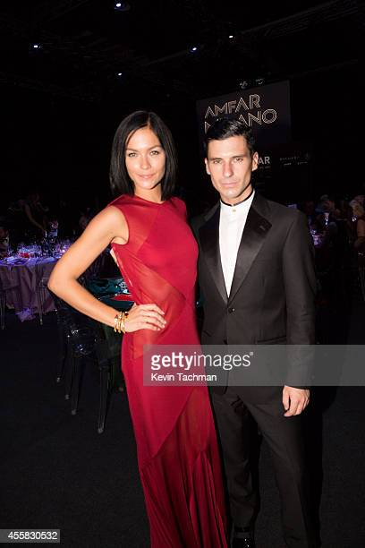 Leigh Lezark and Geordon Nicol attend the amfAR Milano 2014 Gala Dinner and Auction as part of Milan Fashion Week Womenswear Spring/Summer 2015 on...