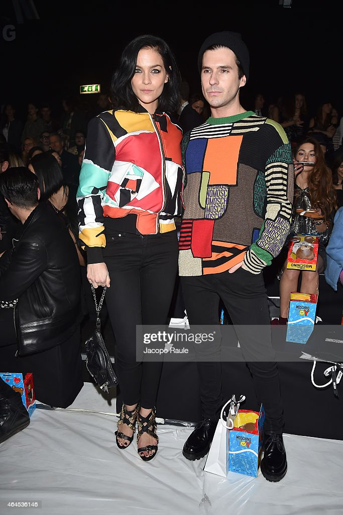 Leigh Lezark and Geordon Nicol attend the Moschino show during the Milan Fashion Week Autumn/Winter 2015 on February 26, 2015 in Milan, Italy.