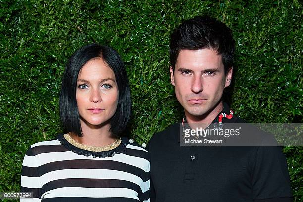 Leigh Lezark and Geordon Nicol attend the Saks Downtown x Vogue event at Saks Downtown on September 8 2016 in New York City