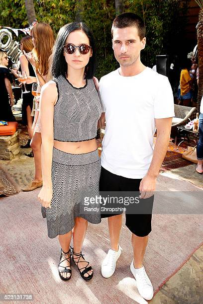Leigh Lezark and Geordon Nicol attend the Villoid garden tea party hosted by Alexa Chung at the Hollywood Roosevelt Hotel on April 21 2016 in...