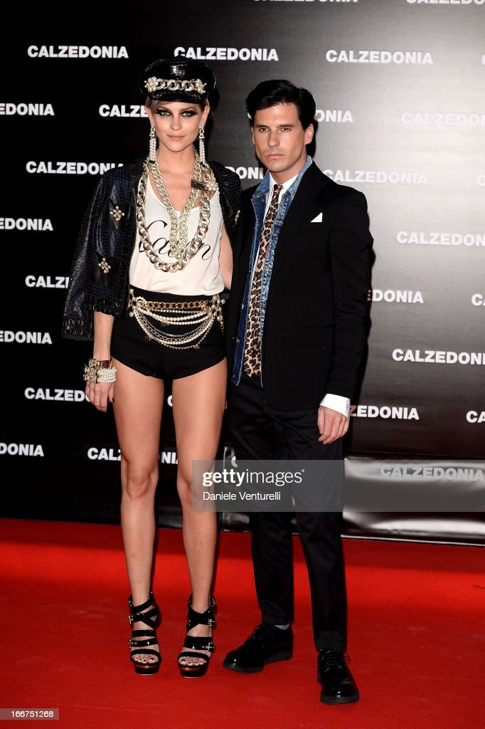 Leigh Lezark and Geordon Nicol from the Misshapes arrive at the Calzedonia 'Forever Together' show on April 16, 2013 in Rimini, Italy.