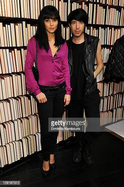 Leigh Lezark and Greg Krelenstein attend the Little Dragon Play Mulberry Mix Tape Tour at Mulberry Store on October 13 2011 in New York City