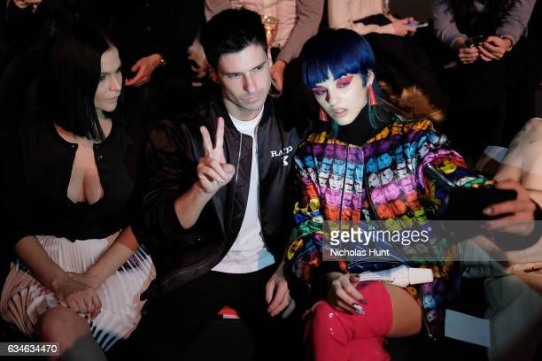 Leigh Lezark and Greg Krelenstein take a selfie with Sita Abellan at the Jeremy Scott collection Front Row during New York Fashion Week The Shows at...