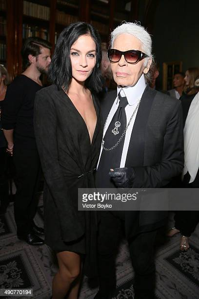 Leigh Lezark and Karl Lagerfeld attend Der Berliner Mode Salon supported by MercedesBenz Cocktail as part of Paris fashion Week at Hotel de...