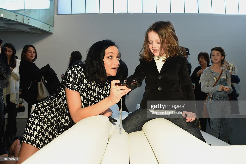 Leigh Lezark (L) and Rachel Zoe's son Skyler Berman attend the Rachel Zoe presentation during Mercedes-Benz Fashion Week Fall 2015 at Affirmation Arts on February 17, 2015 in New York City.