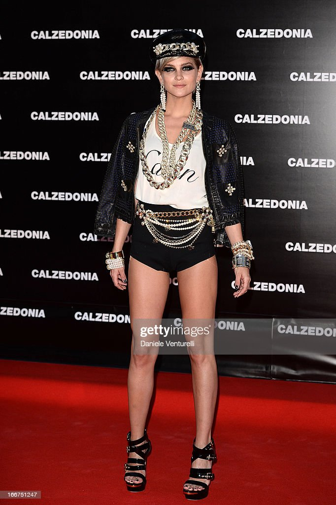 Leigh Lezark arrives at the Calzedonia 'Forever Together' show on April 16, 2013 in Rimini, Italy.