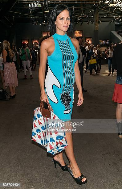 Leigh Lezark attends Jeremy Scott fashion show during New York Fashion Week The Shows at The Arc Skylight at Moynihan Station on September 12 2016 in...