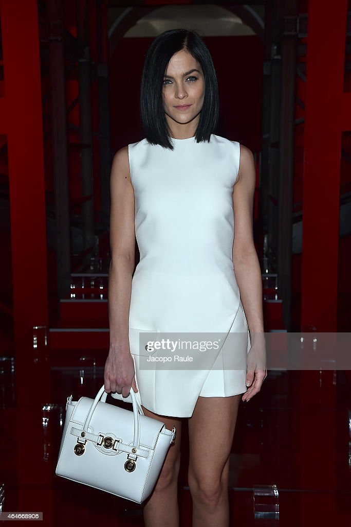Leigh Lezark attends the Versace show during the Milan Fashion Week Autumn/Winter 2015 on February 27, 2015 in Milan, Italy.