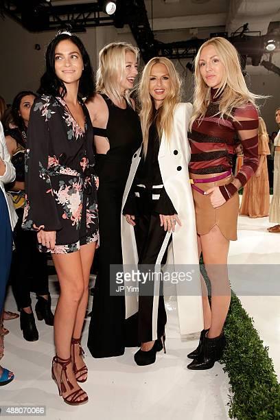 Leigh Lezark Caroline Vreeland designer Rachel Zoe and Shea Marie attend the Rachel Zoe Spring 2016 presentation during New York Fashion Week The...