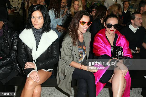 Leigh Lezark Elodie Bouchez and Yaz Buckley attend the Anthony Vaccarello show as part of the Paris Fashion Week Womenswear Spring/Summer 2015 on...