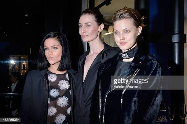 Leigh Lezark Erin O Connor and Lindsey Wixson attend the Tiffany Cooper Exhibition At Karl Lagerfeld Boutique as part of the Paris Fashion Week...